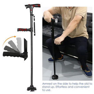 SELF STANDING FOLDABLE WALKING CANE WITH 6 LED LIGHTS