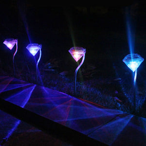Outdoor LED Solar Powered Garden Path Stake Lanterns Lamps LED Diamonds Lawn Light Solar Light Pathway 2016 --M25