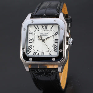 Men Fashion Square Dial Leather Automatic Mechanical Watch