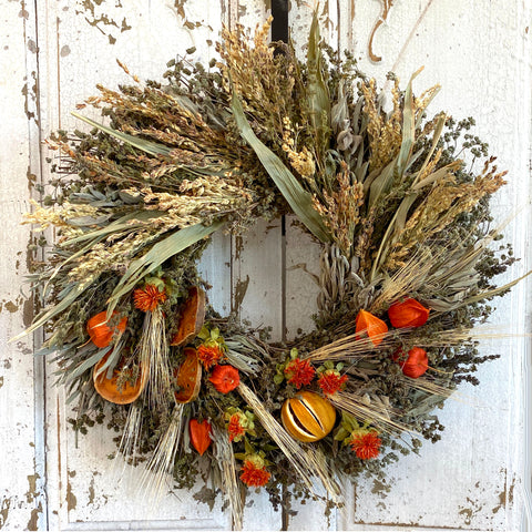 Autumn Citrus and Grains Wreath