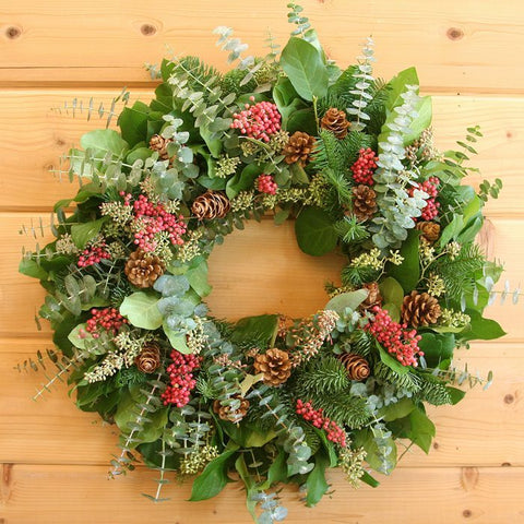 Fragrant Berries and Cones Wreath