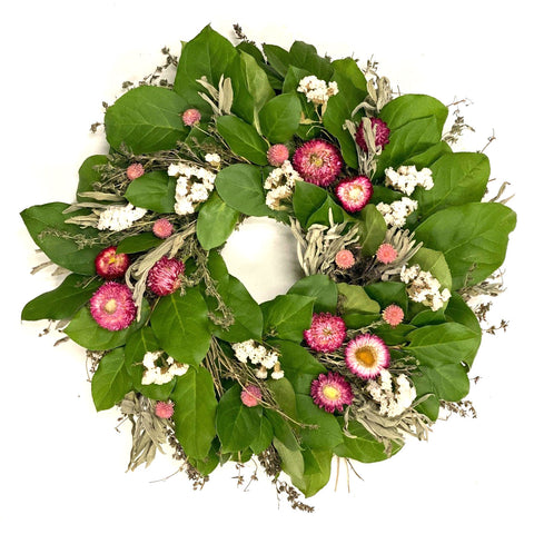 Pink Strawflower Wreath