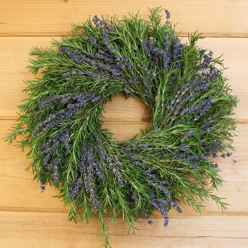 Fresh Lavender Rosemary Handmade Herb Wreath By Creekside Farms