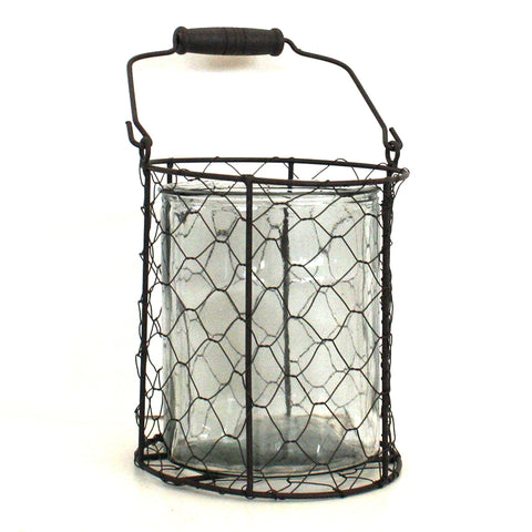 Wire Basket with Glass Vase