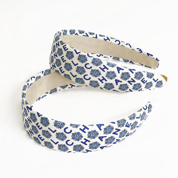 Vintage Chanel Scarf Wide Alice Headband in Blue & Cream Floral