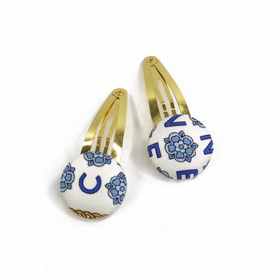 Pair of Hair Clips made from an Authentic Vintage Scarf in Blue & Ivory Floral