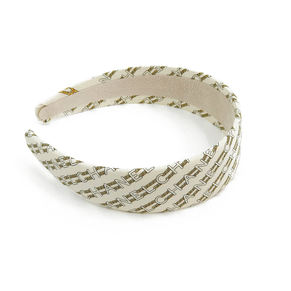 Chanel Ivory & Gold Chain Link Scarf Alice Headband #1