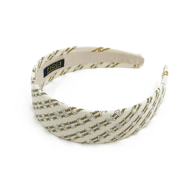 Chanel Ivory & Gold Chain Link Scarf Alice Headband #2