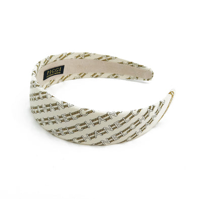 Chanel Ivory & Gold Chain Link Scarf Alice Headband #3