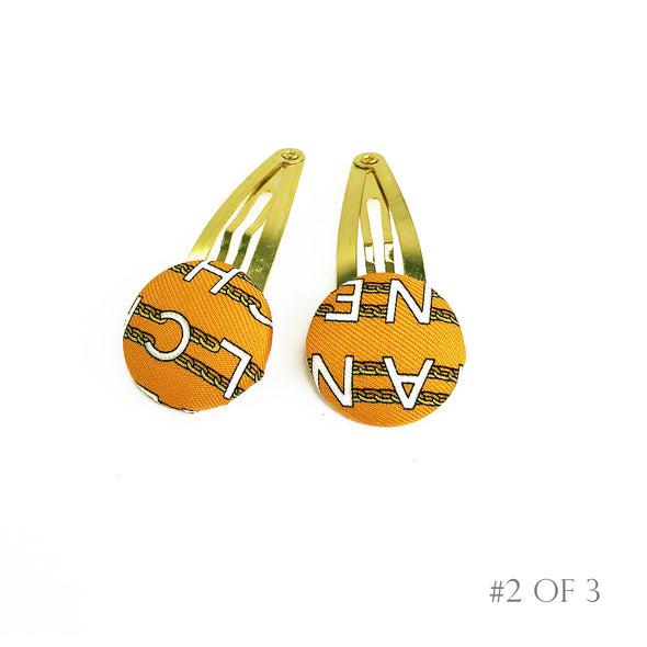 Pair of Hair Clips made from an Authentic Vintage Chanel Scarf in Orange Chain Link