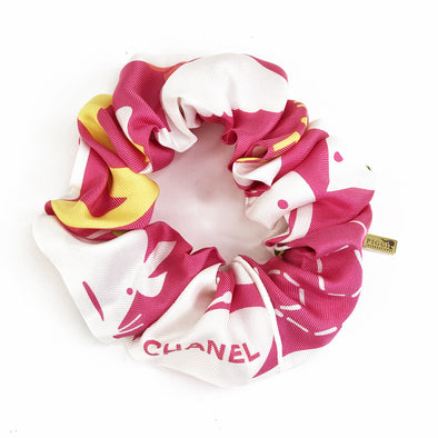 Scrunchie made from an Authentic Vintage Chanel Scarf in Pink