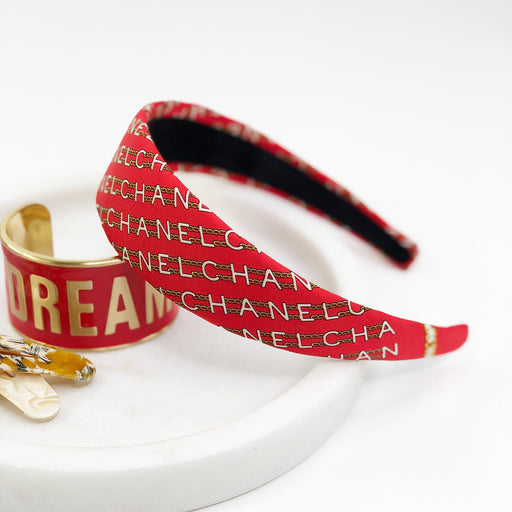 Vintage Chanel Scarf Alice Headband in Red Chain Link