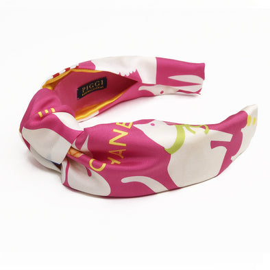 Knot Headband made from an Authentic Chanel Silk Scarf in Pink Animals
