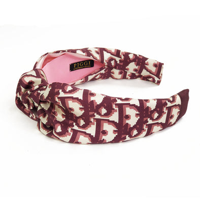 Knot Headband made from Dior Trotter Scarf in Burgandy
