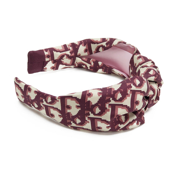 Knot Headband made from Dior Trotter Scarf in Burgandy #2