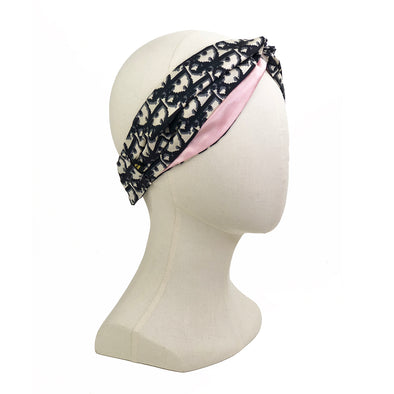 Dior Trotter Vintage Scarf Turban Headband in Black & Ivory