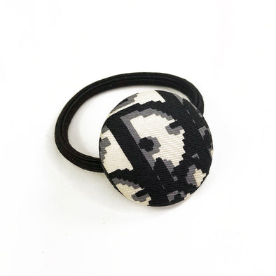 Hair Tie made from Dior Vintage Trotter Scarf in Black and White