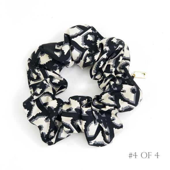 Scrunchie made from Dior Trotter Silk Scarf in Black & Ivory