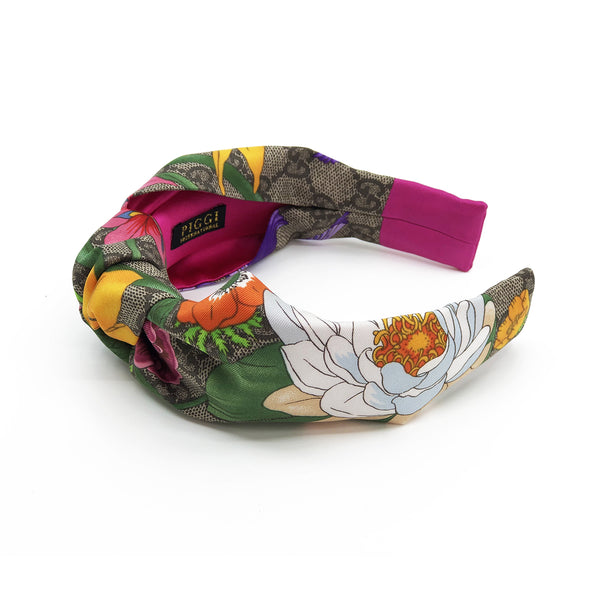 Knot Headband made from Gucci Silk Scarf in GG and Floral Print