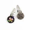 Pair of Hair Clips made from a Vintage Gucci Scarf in GG & Brown Floral Print