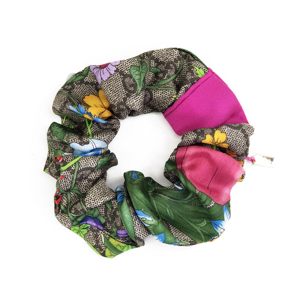 Custom order for Holly - Scrunchie made from a Vintage Gucci Scarf in a Fuchsia Floral & GG Print