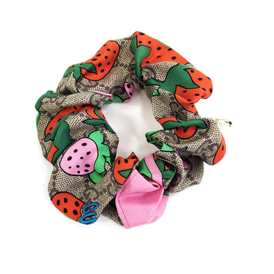 Scrunchie made from a Pre-loved Gucci Scarf in Strawberry & GG Print