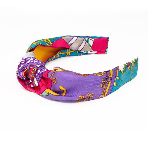 Hermès Vintage Scarf Knot Headband made from 'Etendards et Banniers' in Pink