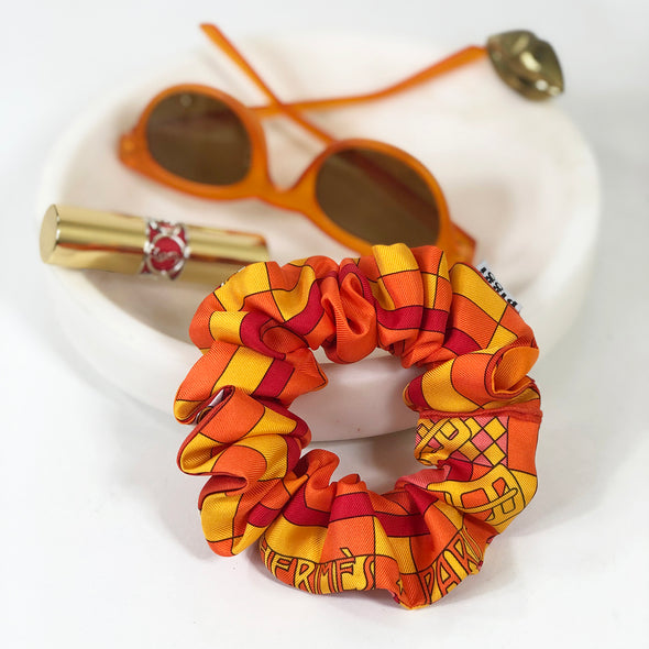 hermes-vintage-scarf-scrunchie-made-from-steeple-chase-in-orange
