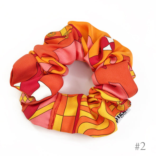 Hermès Vintage Scarf Scrunchie made from 'Steeple Chase' in Orange