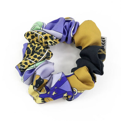Hermès Vintage Scarf Scrunchie made from 'Circus' in Black, Violet & Gold