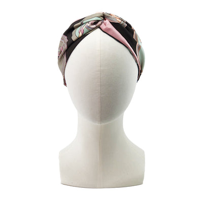 Hermès Vintage Scarf Turban made from 'Belles du Mexique' Pink & Chocolate