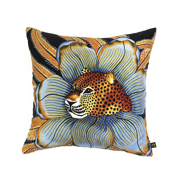 Hermès Vintage Scarf Throw Cushion 'Baobab Cat'