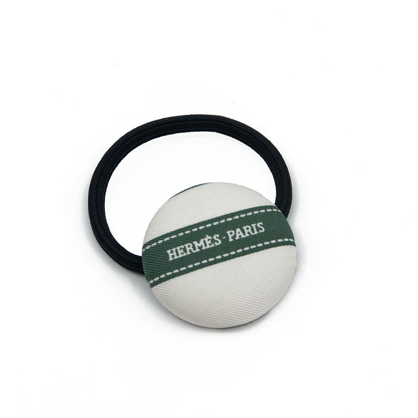 Hermès Vintage Scarf Hair Tie made from Forest Green 'Bolduc'