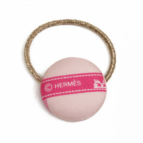Hermès Vintage Scarf Hair Tie made from 'Bolduc' in Pink