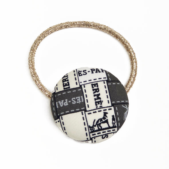 Hermès Vintage Scarf Hair Tie made from Monochrome 'Bolduc au Carre'