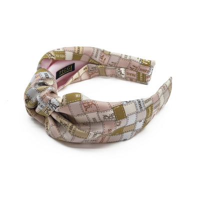 Hermès Vintage Scarf Knot Headband made from 'Bolduc au Carre' Blush
