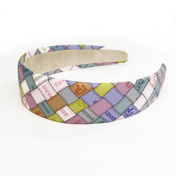 Hermès Scarf 4cm Alice Headband made from 'Bolduc au Carre' Pastels