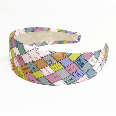Hermès Scarf 5cm Alice Headband made from 'Bolduc au Carre' Pastels