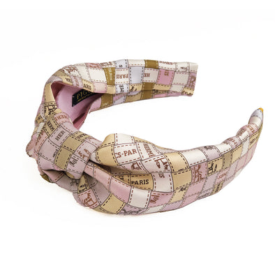 Hermès Vintage Scarf Knot Headband made from 'Bolduc au Carre' Gold & Pink