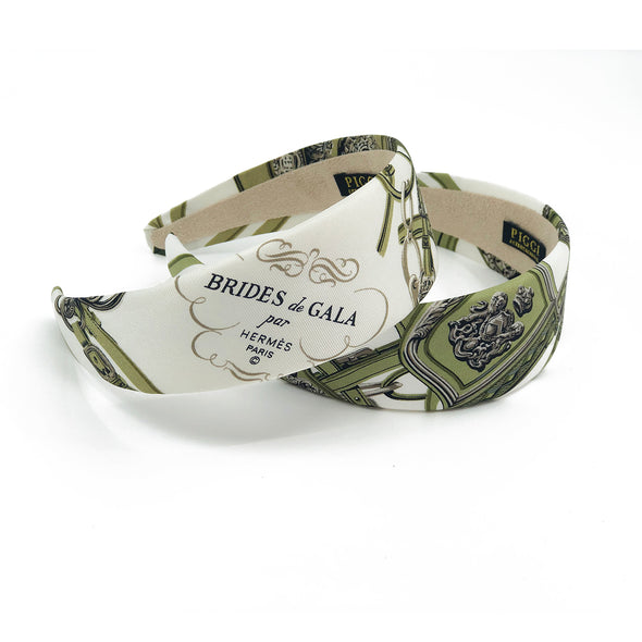Hermès Scarf Alice Headband made from 'Brides de Gala' Olive #1
