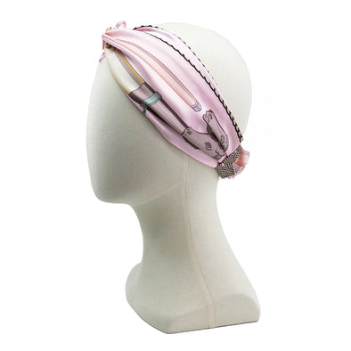 Hermès Vintage Scarf Turban Headband made from 'Cannes et Cannes' Pink