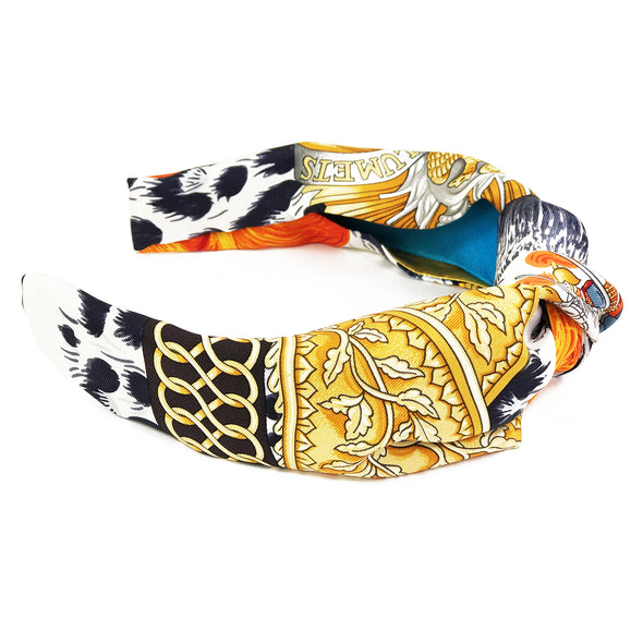 Hermès Vintage Scarf Knot Headband made from 'Casques et Plumets'
