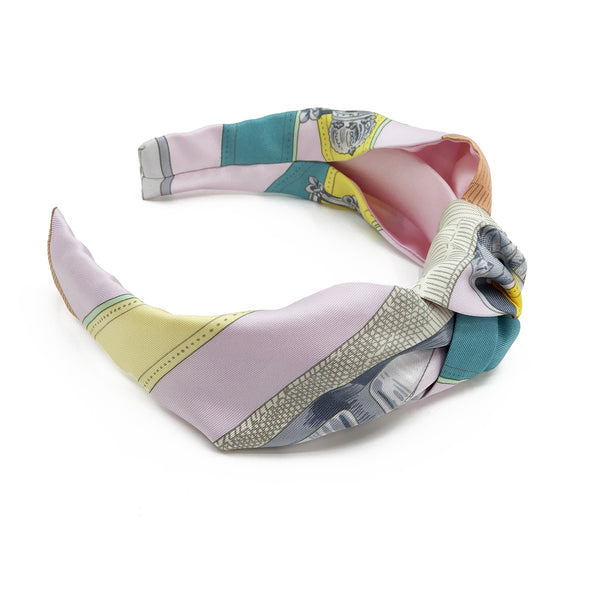 Hermès Vintage Scarf Knot Headband made from 'Cavalcadour' Pinks #1