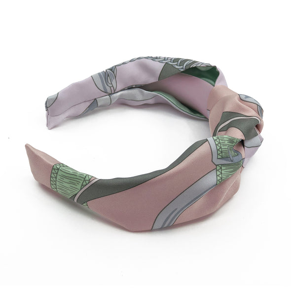 Hermès Vintage Scarf Knot Headband made from 'Cavalcadour' Pinks