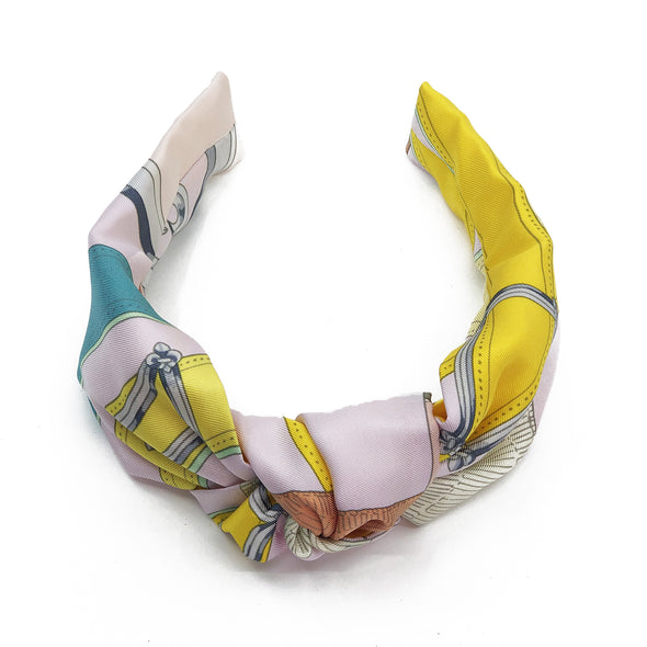 Hermès Vintage Scarf Knot Headband made from 'Cavalcadour'