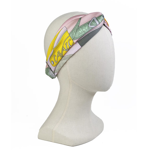 Hermès Vintage Scarf Turban Headband made from 'Cavalcadour' Pinks