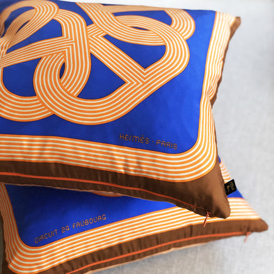 Hermès Vintage Scarf Throw Cushions (Pair) 'Circuit 24 Faubourg'