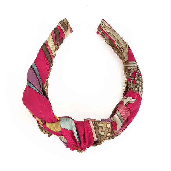 Hermès Vintage Scarf Knot Headband made from 'Concours d'Etriers' Hot Pink