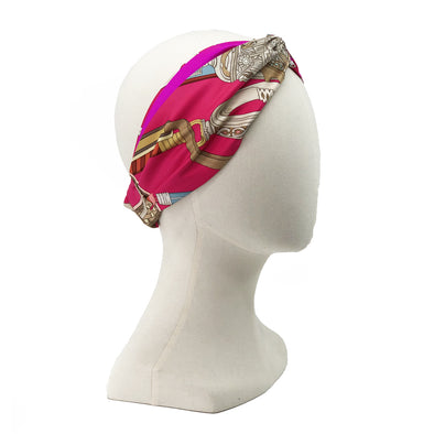 Hermès Vintage Scarf Turban Headband made from 'Concours d'Etriers'