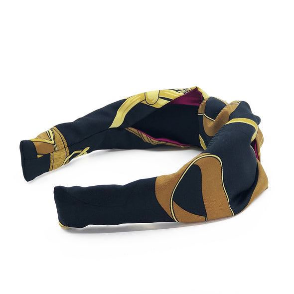 Hermès Vintage Scarf Knot Headband made from 'Eperon d'or' Black